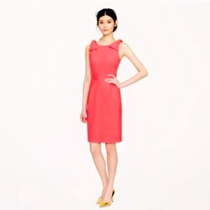 J. Crew coral bow dress with deep v on back